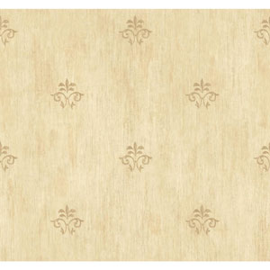 Handpainted III Gold Classic Fleur De Lis Wallpaper