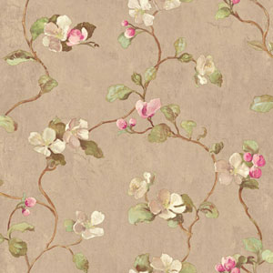 Handpainted III Taupe Floral Spray Wallpaper