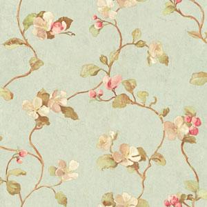 Handpainted III Aqua Floral Spray Wallpaper