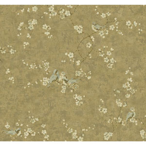 Handpainted III Bronze Birds with Blossoms Wallpaper