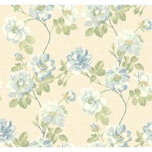Opal Essence Beige and Blue Wild Rose Wallpaper