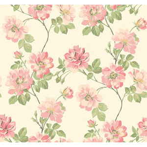 Opal Essence White and Pink Wild Rose Wallpaper