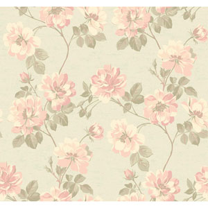 Opal Essence Silver and Peach Wild Rose Wallpaper