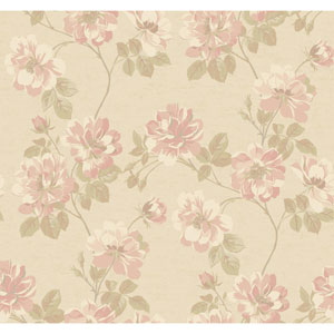 Opal Essence Soft Gold and Pink Wild Rose Wallpaper