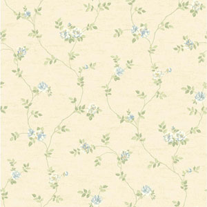 Opal Essence Beige and Blue Small Vine Wallpaper