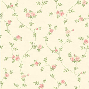 Opal Essence White and Pink Small Vine Wallpaper