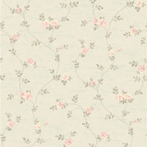 Opal Essence Silver and Cream Small Vine Wallpaper