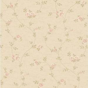 Opal Essence Soft Gold and Cream Small Vine Wallpaper