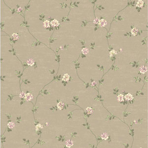 Opal Essence Taupe and Purple Small Vine Wallpaper