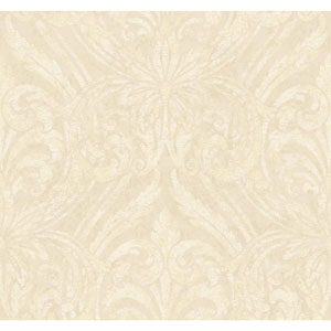 Opal Essence Cream and Gold Glitter Damask Wallpaper