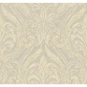 Opal Essence Grey and Gold Glitter Damask Wallpaper
