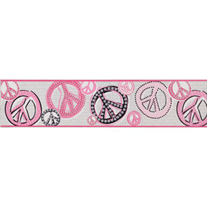 Friends Forever White Background and Light Pastels Peace & Love Sign Border