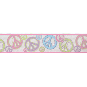 Friends Forever Silver Background and Pink and Black Peace & Love Sign Border