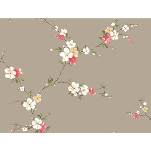 Inspired by Color Taupe Blossom Trail Wallpaper
