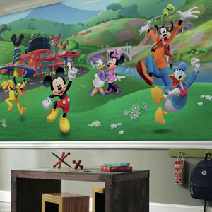 Mickey and Friends Roadster Racer XL Chair Rail Prepasted Mural