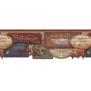 Welcome Home Rust, Barn Red, White, Black and Blue Bath Signs Border Wallpaper