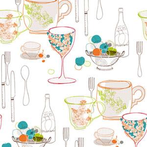 Bistro 750 Graphic Tableware Wallpaper