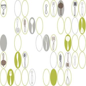 Bistro 750 Kitchen Utensils and Ovals Wallpaper