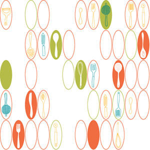Bistro 750 Kitchen Utensils and Ovals Wallpaper