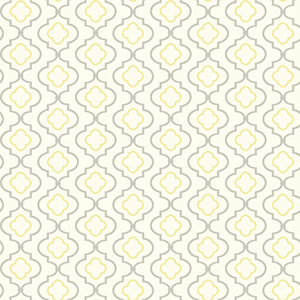 Kitchen and Bath White, Yellow and Gray Small Trellis Wallpaper