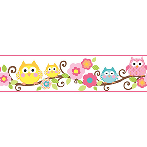 Cool Kids Bubble Gum, Watermelon, Kiwi, Chocolate, Egg York, Mango and Snow Owl Branch Border Wallpaper