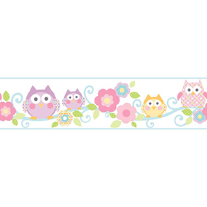Cool Kids Bubble Gum, Strawberry Shake, Lavender, Robins Egg, Kiwi, Snow and Butterscotch Owl Branch Border Wallpaper
