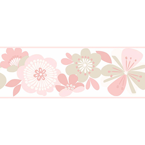 Cool Kids Pale Blush, Dusty Rose, Pale Taupe and Snow Large Floral Border Wallpaper