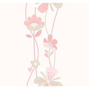 Cool Kids Stripe Pale Blush, Dusty Rose, Pale Taupe and Snow Large Floral Wallpaper