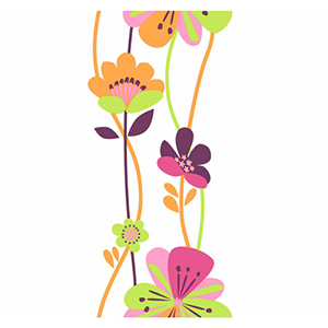 Cool Kids Stripe Bubble Gum, Watermelon, Pistachio, Grape Juice and Orange Pop Large Floral Wallpaper