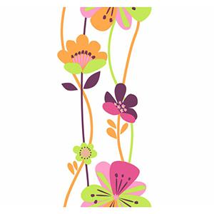Cool Kids Stripe Bubble Gum, Watermelon, Pistachio, Grape Juice and Orange Pop Large Floral Wallpaper