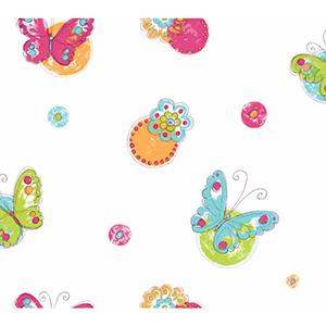 Cool Kids Snow, Robins Egg, Orange Pop, Kiwi, Watermelon and Grape Juice Butterfly Circle Wallpaper