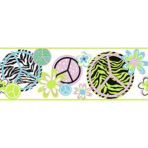 Cool Kids Snow Cone Blue, Lavender, Pistachio, Snow and Licorice Peace, Zebra Border Wallpaper