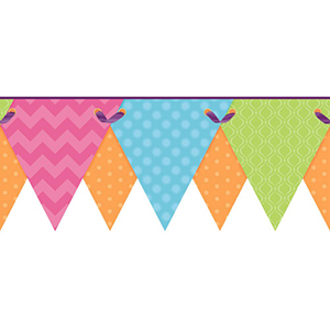 Cool Kids Robins Egg, Pistachio, Orange Pop, Strawberry and Grape Juice Geometric Pennant Border Wallpaper