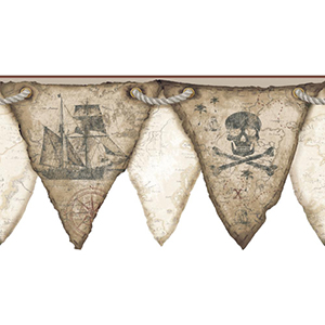 Cool Kids Beige, Sand, Earth Brown, Light Grey, Russet and Gold Pirates Pennant Border Wallpaper