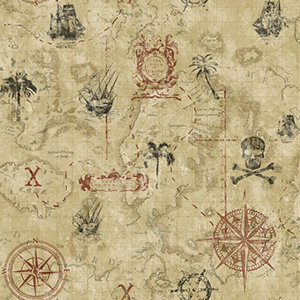 Cool Kids Sand, Taupe, Charcoal and Sand Pirate Map Wallpaper