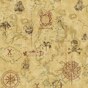 Cool Kids Manila Tan, Earth Brown and Russet Pirate Map Wallpaper