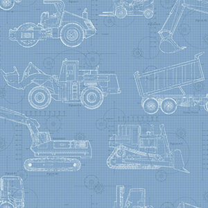 Cool Kids Sky Blue, Medium Blue, Dark Blue and White Blueprint Construction Wallpaper
