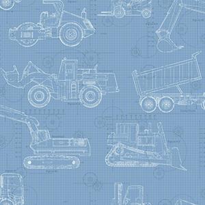 Cool Kids Sky Blue, Medium Blue, Dark Blue and White Blueprint Construction Wallpaper