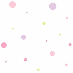 Cool Kids Snow, Kiwi, Blush Pink, Bubblegum Pink and Lavender Small Dot Variety Wallpaper
