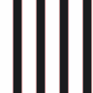 Cool Kids White, Black and Red Wide Stripe, Pinstripe Wallpaper