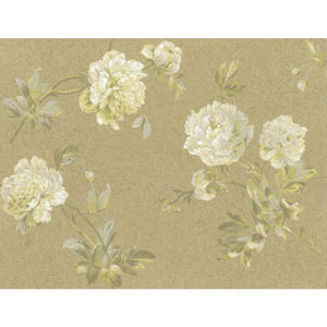 Organic Cork Prints Whitworth Peony Brown and Green Wallpaper