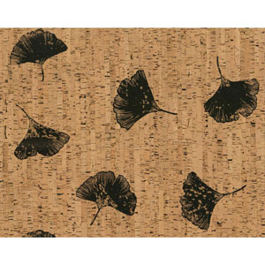 Organic Cork Prints Gingko Brown and Black Wallpaper
