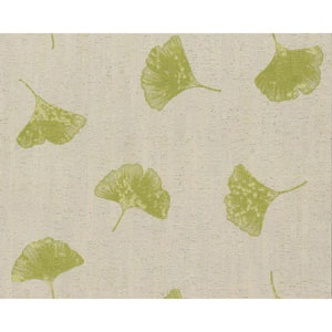Organic Cork Prints Gingko Green Wallpaper