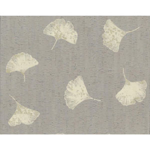 Organic Cork Prints Gingko Metallic and Beige Wallpaper