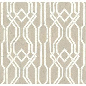 Organic Cork Prints Balanced Trellis White and Off White Wallpaper