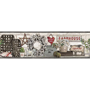 Rustic Living Farmhouse Shelf Black Border