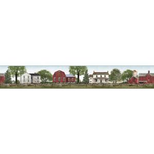 Rustic Living Farmhouse Scenic Green Border