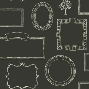 Rustic Living Chalkboard Frames Black Wallpaper