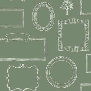Rustic Living Chalkboard Frames Green Wallpaper