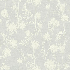 Rustic Living Queen Annes Lace White and Off White Wallpaper